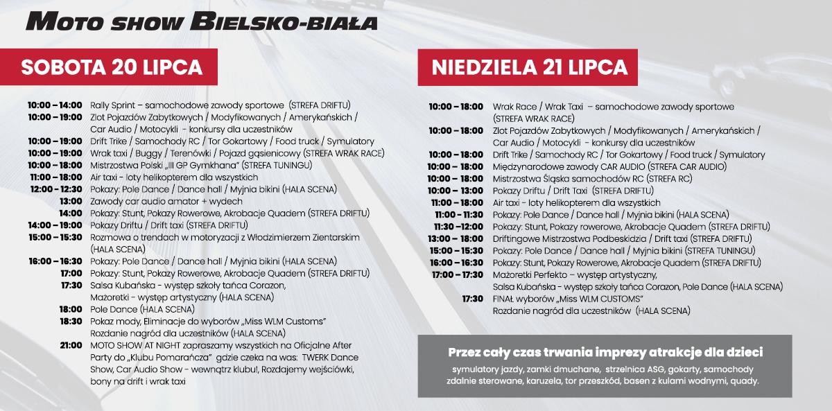 Harmonogram atrakcji MotoShow Bielsko 2019