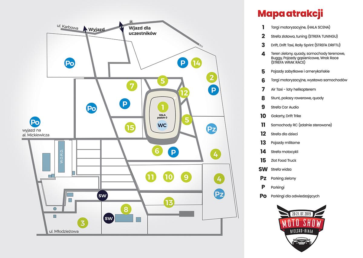 Mapa atrakcji MotoShow Bielsko 2019